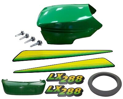 New Upper&Lower Hood/Bumper/Foam Isolator/LH&RH Stickers Fits JohnDeere LX288 UP