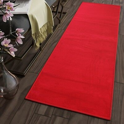 Soft Plain Red Modern Hallway Runners for Corridor Stairs Non-Shed Floor Rugs