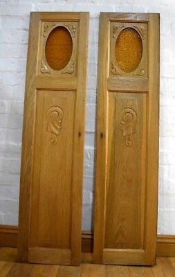 Antique vintage pair of decorative door panels - wall art