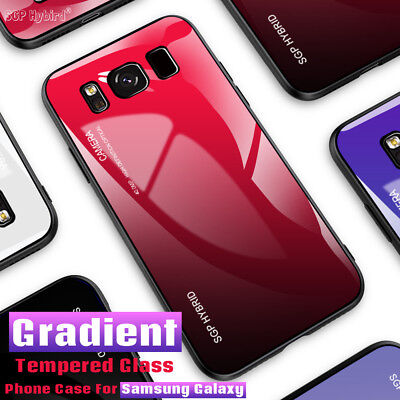 Gradient Tempered GLASS BACK Hybrid Case Cover For Samsung Note 9/8 S8+ S9 Plus