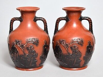 Attractive Pair Large Antique Austrian Terracotta 'wedgwood' Portland Vases