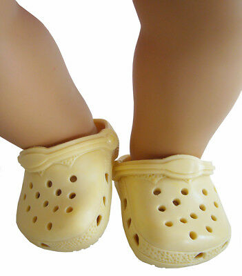 Pale Yellow Krocs Clog Summer Shoes For Bitty Baby + Twins Doll Clothes