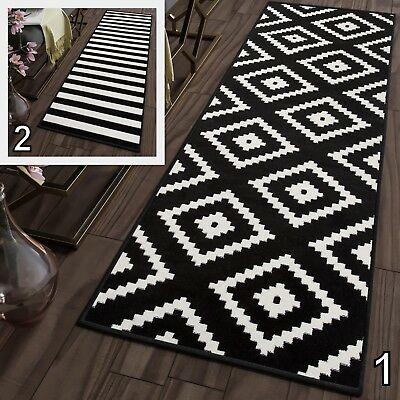 Soft Black & White Modern Hallway Runners Corridor Stairs Non-Shed Floor Rugs