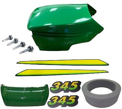 New Upper &Lower Hood/Bumper/Foam Isolator/LH&RH Stickers Fits John Deere 345 UP