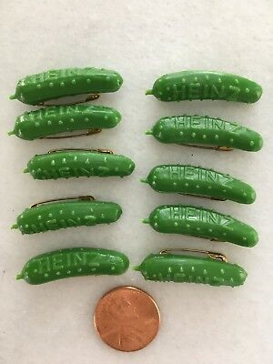 Heinz 57 Plastic Pickle Pin Lot 10 Cucumber Advertising Promo