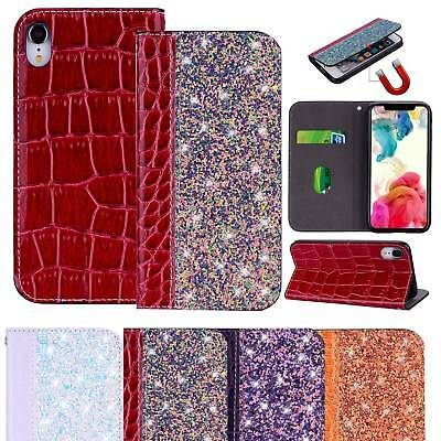 Bling Flip Premium PU Leather Case Card Holder Cover For iPhone 6 7 8 Plus XS XR