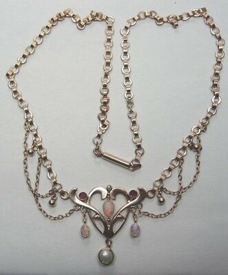Antique Art Deco 9K Rose Gold Necklace Opal Natural Pearl Ruby Length 16 1/2""