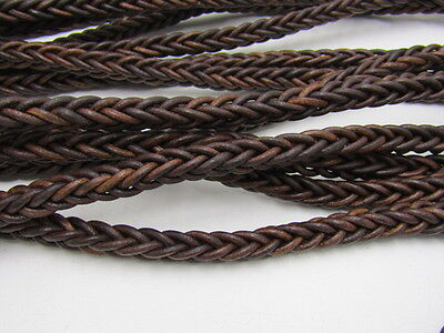 "Leather braided square cord.... 10 yards of Antique brown, 11mm  (7/16""),  v1076"