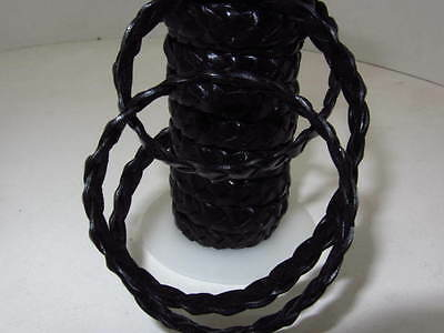 "Flat leather braided cord....5 yards of black color   3/8"" wide (10mm) ....v588"