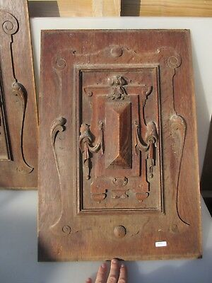 Victorian Carved Wooden Panel Plaque Door Antique Wood Shell Leaf Drapes Old