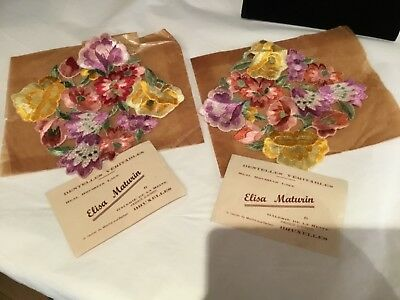Pair Of Antique Vintage Real Brussels Floral Colorful Lace No Reserve Wow