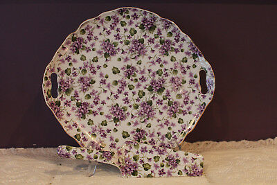 Beautiful Porcelain 1855 Tipo Limoges Cake Plate And Server With Purple Violets