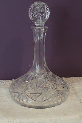 Cut Crystal Ship Captains Decanter - Pinwheel Cut