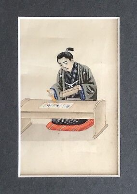 ANTIQUE ORIENTAL JAPANESE VERY FINE PAINTING OF SCRIBE ON SILK C.1920s