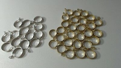 """LOT OF 42 VINTAGE CLIP ON CAFE CURTAIN RINGS, 3/4"""" DIAMETER brass/silver"""