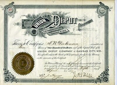 1889 Union Depot Stock Certificate (Issued) Kansas City Missouri  Sig Mo Pac