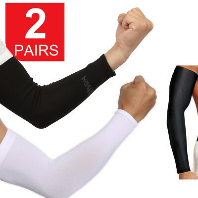 2 Pair Unisex Outdoor Sports Cooling Arm Sleeves Cover UV Sun Protection USA