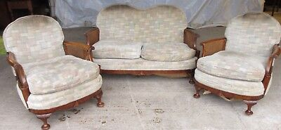 Walnut art deco bergere 3 piece suite sofa and 2 armchairs (ref 590)