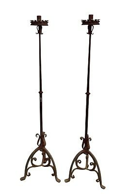 ESTATE 19th Century or Earlier Forged Iron Torcheres - a Pair