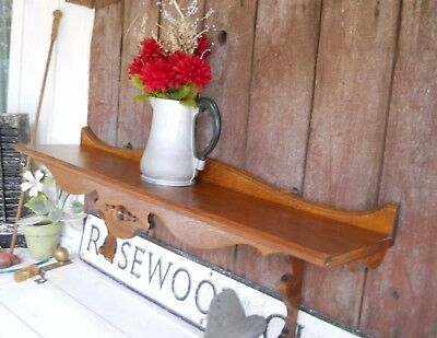 "Antique Clock Display Wall Shelf Huge 46"" Victorian 19th Century Wood Mantel"
