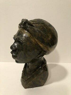 Tribal Hand Carved Green Stone Bust