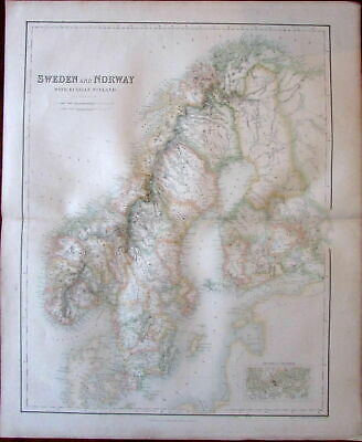 Sweden Norway Finland Scandinavia Fullarton c. 1860 large folio sheet map