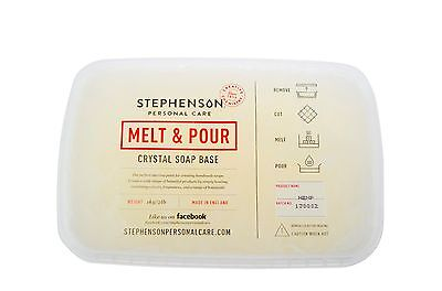 Aloe Vera Melt and Pour Soap Base Crystal Stephensons Cosmetic Making Clam Pack