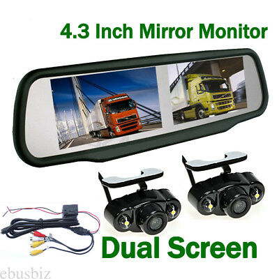 Car Dual Screen 4.3'' Rear View Monitor& Double Backup HD Camera Auto Switch Kit