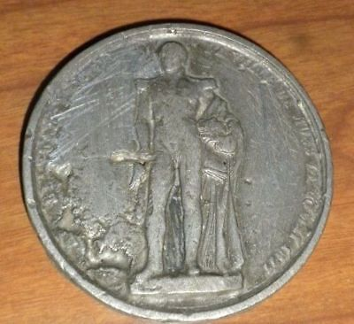 """HUGE HEAVY 2 2/3"""" ANTIQUE COIN 110 G Hand Made?  Rare"""