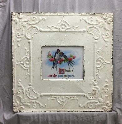Antique Repurposed TIN CEILING Metal 8X10 White Picture Frame Recycled 369-18C