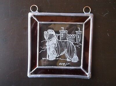 Bearded Collie- Hand engraved ornament by Ingrid Jonsson