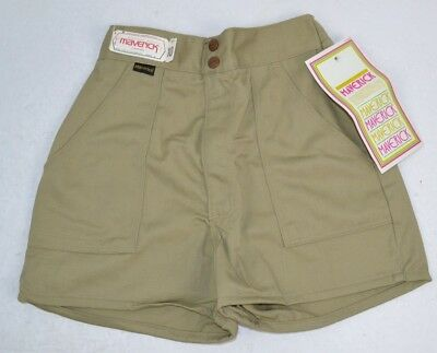 Vtg 1970's Khaki HIGH WAIST SHORTS Double Snap Short Inseam 9/10 NOS