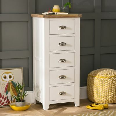 Cheshire Cream Painted 5 Drawer Tallboy Chest- WW07