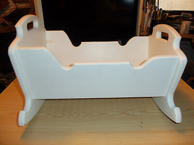 """Vintage Solid Wooden Rocking Handmade Baby Doll Cradle Bed 19"""" x 16"""" x 14"""" White"""
