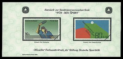 BRD SPORTHILFE 1989 ENTWÜRFE TISCHTENNIS TABLE TENNIS DU TABLE PROOFS by31