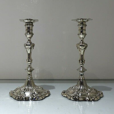 Mid 18th Century Antique George III Sterling Silver Pr Candlesticks London 1763