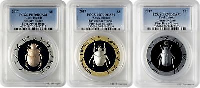 2017 $5 Cook Islands Scarab Selection 2 3-Coin Silver Proof Set PCGSPR70DCAM FD