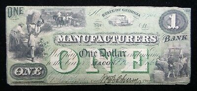 1862 $1 The Manufacturers Bank of Macon - Georgia Obsolete Note Great Condition