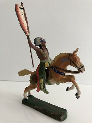 Elastolin Germany - Indianer Mit Speer & Schild Zu Pferd - Massefigur - Wildwest