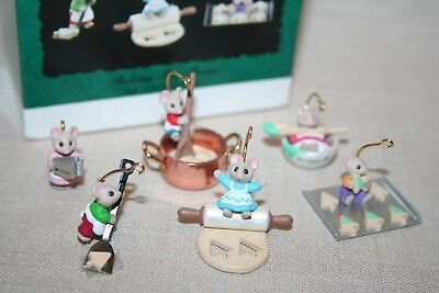 HALLMARK Miniature 6 Pc Set, 1994 BAKING TINY TREATS Christmas Ornament, NICE+++