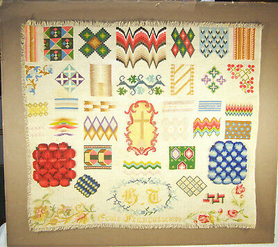 RARE Dated 1889 Signed French School Needlepoint Stitch Pattern Sewing Sampler