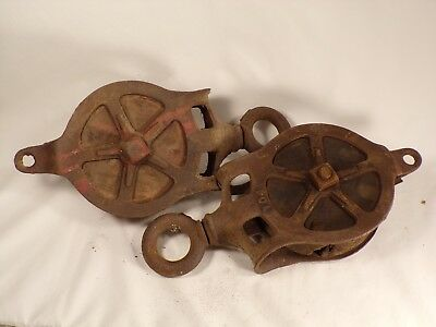 2 Primitive Antique Cast Iron and Wood  Barn Pulley Block Tackle Barn Farm Decor