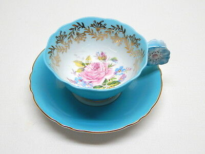 Vintage Paragon Bone China Rose w/ Gold Accent Cup & Saucer Poppy Flower Handle
