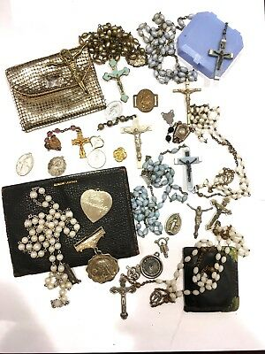 Lot of 30 Broken Religious Saint Medals Rosaries Cross Vintage Mesh Rosary Pouch