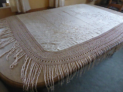 antique silk shawl, large, ivory-coloured, hand embroidered