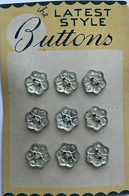 "Vintage Glass Buttons -  Silver ""Foil Backed"" Flower 2-hole buttons"