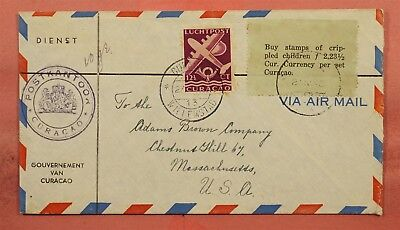 1940 Curacao Willemstad Airmail To Usa Buy Crippled Childrens Stamps Label
