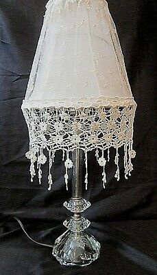 VINTAGE CLEAR CRYSTAL TABLE LAMP w/OFF-WHITE TOILE and CROCHETED LACE SHADE