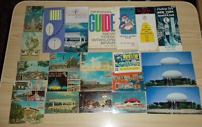 New York World's Fair 1964 / 1965 Lot Guide Book, Pamphlets Trading & Post Cards