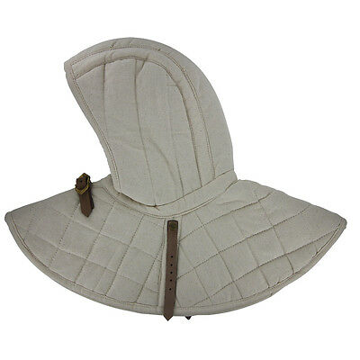 Medieval Cosplay Reenactment Cotton Padded Battle Collar Armor And Cap